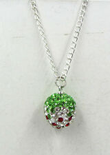 Cute Strawberry Crystal Rhinestone Silvering Disco Ball Necklace New Chain AABCD
