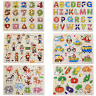 Baby Kids Wood Board Block Animal Letters Numbers Puzzle Useful Educational Toy