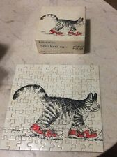 "Vintage B. Kliban Mini Jigsaw Puzzle Sneakers Cat 1979 #105 7""x7"""