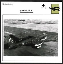 Germany Junkers Ju 287 Medium Bomber Warplane Aviation Card - I Combine S/H