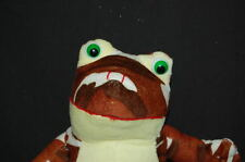 "Brown Camouflage Frog Green Eyes Yellow Belly Plush 10"" K & K Toy Lovey"