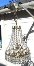 VINTAGE FRENCH STYLE TENT & 3 TIER ORNATE CRYSTAL CHANDELIER CEILING LIGHT