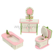 Doll House Miniature Bathroom Wooden Furniture Set Kids Role Pretend Play Toy