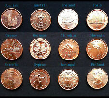 Set of 12 Coins 1 Euro Cent from European Union 12 Countries