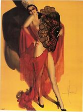 Rolf Armstrong Sexy Nude Fan Dancer with Red Cape Lace Fan Black Heels 9x12