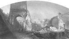 Rome FORUM TEMPLE RUINS, ARCH OF TITUS ~ 1861 Architecture Art Print Engraving