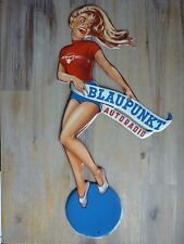 Pin-Up Cut-Out Blaupunkt Autoradio 20x42cm Shaped Frau Blech Schild Metal sign