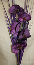 ARTIFICIAL SILK PURPLE POPPY FLOWER BOUQUET WITH GRASS 80CM READY FOR YOUR VASE