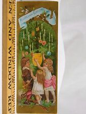Victorian Christmas Bookmark Trade Card Children Tree Ornaments Lantern F38