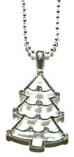 SILVER TONE & CRYSTAL CHRISTMAS TREE NECKLACE (N209)