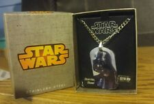 Star Wars Enamel DARTH VADER Dog Tag Pendant Stainless Steel Necklace NEW w/BOX