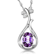 Women's Purple Crystal 925 Sterling Silver Pendant Necklace Fashion Jewelry