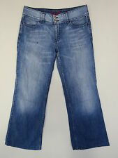 A-088 LADIES LEVIS 649 STONE WASH DISTRESSED WIDE LEG DENIM JEANS SZ 33 OR 12