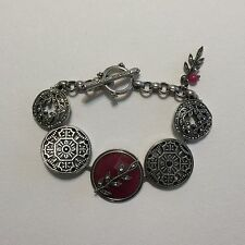 Lucky Brand Toggle Chain Marcasite Bracelet With Red Semi-precious Stone