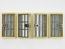 LEGO barred door gate 1x4x6 TAN DK. GREY x4 for castle prison dungeon jail bars