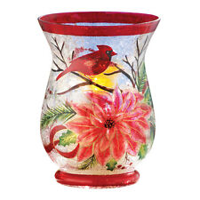 Christmas Cardinal Glass Candle Holder, by Collections Etc