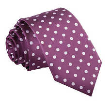 NEW DQT HIGH QUALITY POLKA DOT MEN'S SLIM TIE - PURPLE