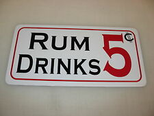 RUM DRINKS 5 Cent Metal Sign Vodka Whisky Wine Liquor Store Home Bar Olive Green