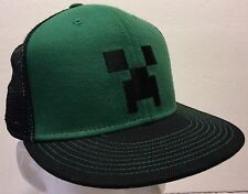 Minecraft Creeper Green & Black Mesh Trucker Snapback Hat Cap Mojang Sandbox