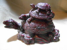 """VINTAGE 3 Stacked ON TOP OF EACH OTHER Red Triple Turtle Figurine Statue 3.5"""""""
