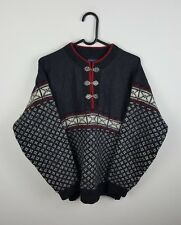 MENS VTG AZTEC CHUNKY KNIT NORWEGIAN OVERSIZED SWEATSHIRT JUMPER VGC UK S