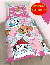 NEW PAW PATROL STARS SINGLE DUVET QUILT COVER BEDDING SET GIRLS PINK BEDROOM