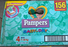 PAMPERS BABY DRY TAGLIA 4 MAXI 7-18 KG SUPERSCORTA 156 PANNOLINI CONVENIENZA