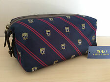 POLO RALPH LAUREN NAVY BLUE TIE SILK & BROWN LEATHER TOILETRY/WASHBAG BNWT