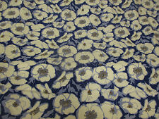 Royal with Grey Poppy Heads Floral 100% Viscose Summer Printed Dress Fabric.