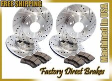 Front & Rear All 4 Drilled & Slotted Brake Rotors & Ceramic Brake Pads E90