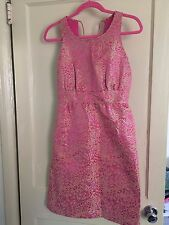 J. Crew Collection Pink Dress Jacquard Gold Wedding Cocktail Gown