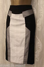 Karen Millen Graphic Structured Panel Tailored Military Sporty Pencil Skirt 6 34