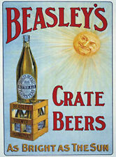 BEASLEY'S CRATE BEER BRIGHT AS THE SUN - MAN CAVE METAL SIGN TIN PLAQUE 1034
