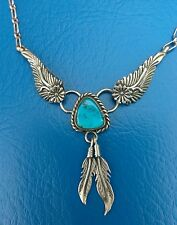Sterling Silver Navajo Turquoise Feather Necklace
