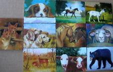 """Oil painting on wood """"Animals"""" ( 2.8 x3.6"""" x 10 ea)"""