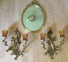 2 Large Vtg Gold Dart 3931 Votive Candle Sconce Mid Century Gold Resin & Mirror