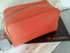 NEW AUTHENTIC MULBERRY NET-A-PORTER BURNT PEACH LEATHER TOILETRY CASE