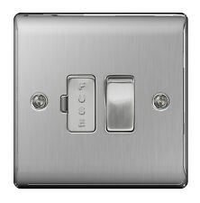 STAINLESS STEEL Switched Fused Spur FCU Brushed Satin - SLIMLINE Profile - NBS50