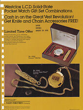 VINTAGE AD SHEET #3200 - WESTCLOX LCD POCKET WATCH 1970s
