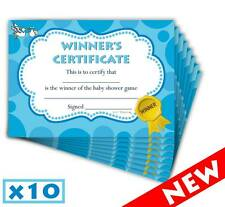 Baby Shower Winners Certificate - Blue/Boy - Game Prizes - 10 Pack - Lil'Tinka