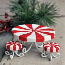 Miniatures Fairy Garden Mini  Candy Cane Table and Chairs  Christmas