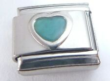 BLUE LOVE HEART Italian Charm - 9mm fits Classic Bracelets March Birthstone E506