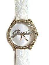 New Authentic  GUESS Guess Ladies White Leather Embossed strap Watch U0570L1 NWT