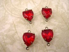 4 vintage glass red siam ruby heart  brass ox setting 10mm 2 ring connectors