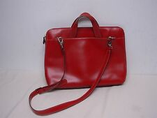 LODIS AUDREY BRERA RED LEATHER BRIEFCASE COMPUTER COMPARTMENT LAPTOP BAG NEW