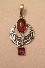 "BALTIC HONEY AMBER STERLING SILVER EGYPTIAN WINGED GODDESS ISIS PENDANT 1.3/4"" T"