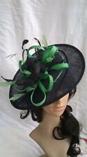 BLACK & GREEN FEATHER FASCINATOR HAT.Shaped saucer Wedding.races hatinator