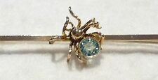 Vintage Late Edwardian to 1920's 9ct & Faceted Blue Zircon Spider Bar Brooch