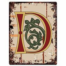 PP0512 Alphabet Medieval Initial Letter D Chic Sign Bar Shop Store Home Decor