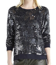 SACHIN & BABI Black Gray Aditya Sequin Silk long sleeves Dressy Sweater Top Sz 6